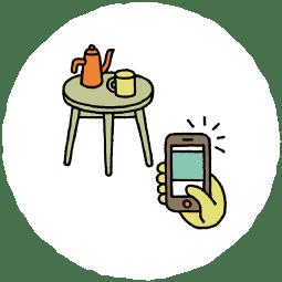 テーブルとスマホ
